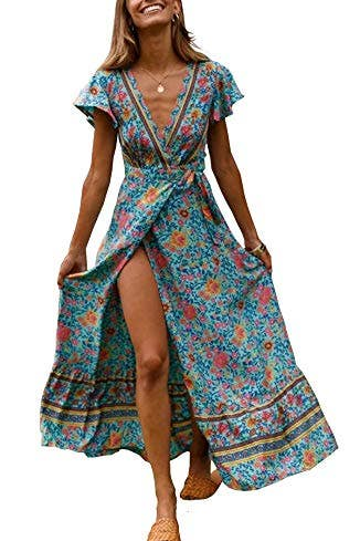 Short Sleeve Floral Wrap Dress with Slit