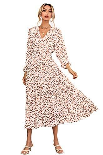 Long Sleeve Polka Dot Midi Dress