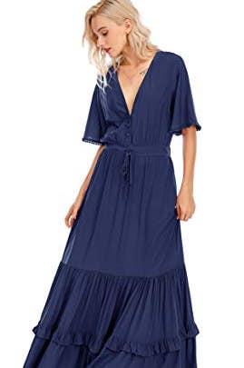 Short Sleeve V Neck Bohemian Midi Dress