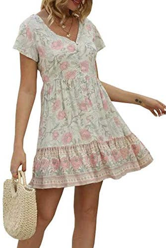 Floral Print V Neck Cotton Tunic Dress