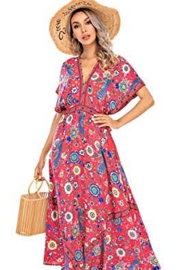 Deep V Neck Cotton Beach Long Dress