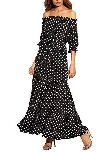 R.Vivimos Women Summer Off Shoulder Polka Dot Long Dresses XL Black
