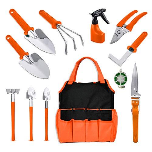 BNCHI Gardening Tools Set,12 Pieces Stainless Steel Garden Hand Tool,with Storage Tote Bag,Gardening Gifts for Women,Men,Gardener(Orange)