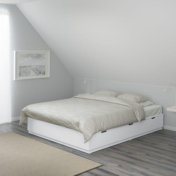 NORDLI Bed frame with storage - white King