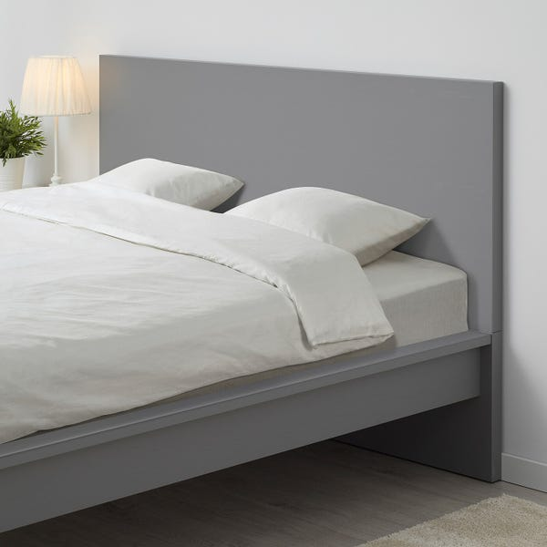 MALM Bed frame, high - gray stained/Luröy King
