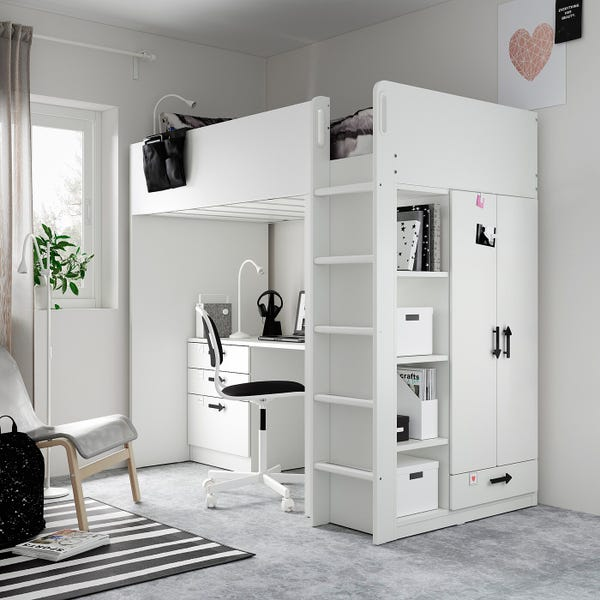 SMÅSTAD Loft bed - white green/with desk with 4 drawers Twin
