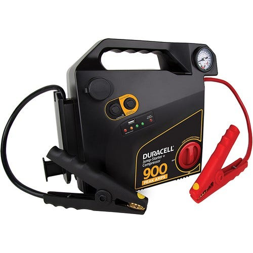 Duracell - 900 Amp Portable Jump Starter with Air Compressor - Black