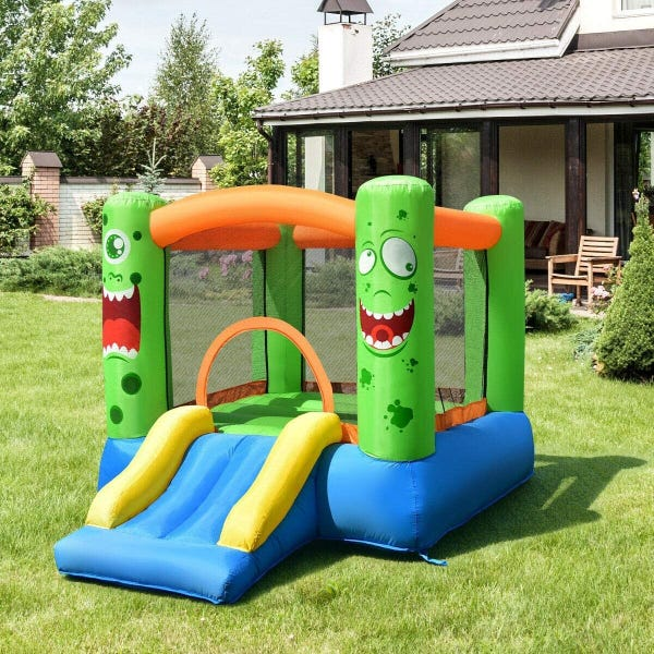 Inflatable Castle Bounce House Jumper Kids Playhouse with Slider