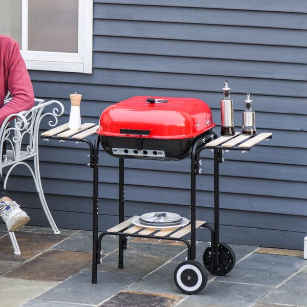 """Outsunny 19"""" Steel Porcelain Portable Outdoor Charcoal Barbecue Grill"""