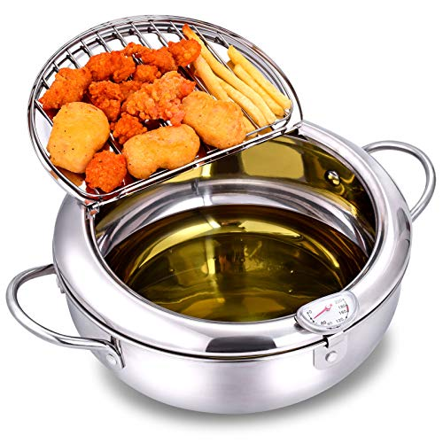 """Deep Fryer Pot,304 Stainless Steel with Temperature Control and Lid Japanese Style Tempura Fryer Pan Uncoated Fryer Diameter: 9.4"""""""