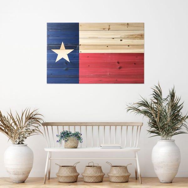 Texas Flag Planked Wood Wall Art