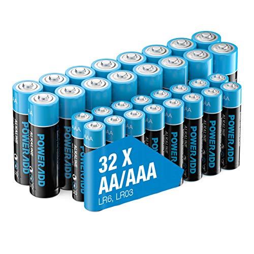 POWERADD AA+AAA Alkaline Batteries 32 Count