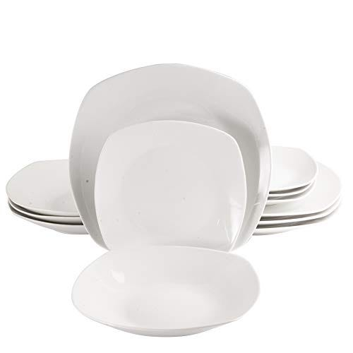 Gibson Home Back to Basics Dinnerware Sets, Square: Service for Four (12pcs), Classic Pearl