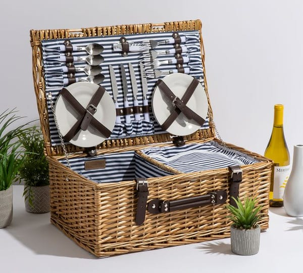 Providence Woven Picnic Basket Set for 4 - Taupe Willow