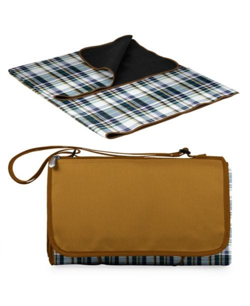 Oniva® by English Plaid & Camel Blanket Tote Outdoor Picnic Blanket