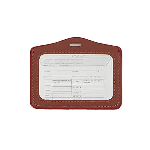 Leather Vaccination Card Cover, 4 x 3 Inches