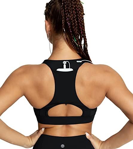 QUEENIEKE Women's Medium Support Back Pocket Energy Sport Bra Cotton Feel Size S Color Black