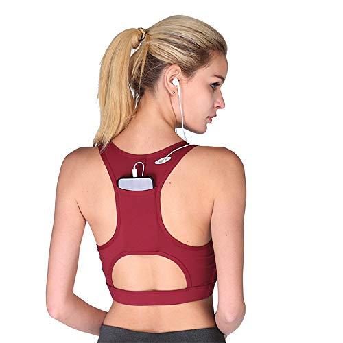 Women High Impact Sports Bra Phone Pocket Running Bra