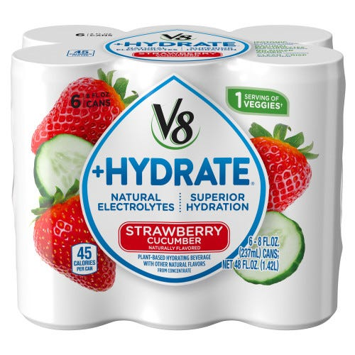 V8 +Hydrate Plant-Based Hydrating Beverage, Strawberry Cucumber, 8 oz. Can (Pack of 6)
