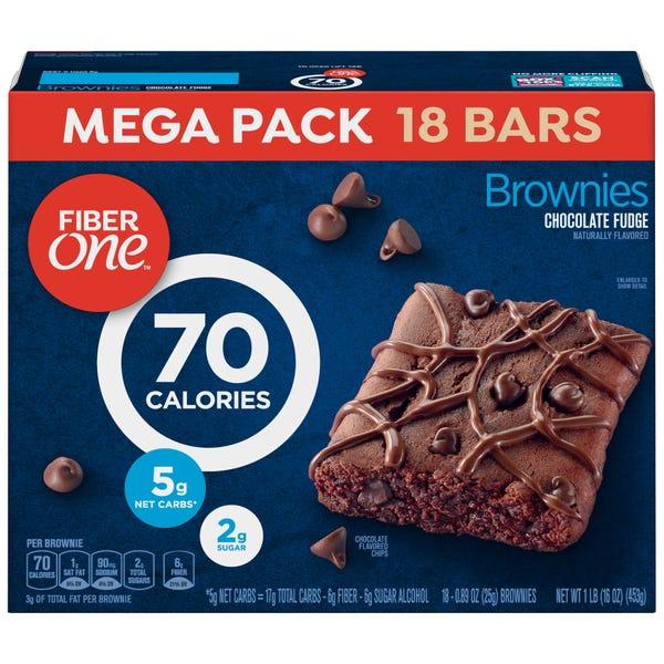 Fiber One 70 Calories Brownies, Chocolate Fudge, 18 Ct Mega Pack, 16 Oz