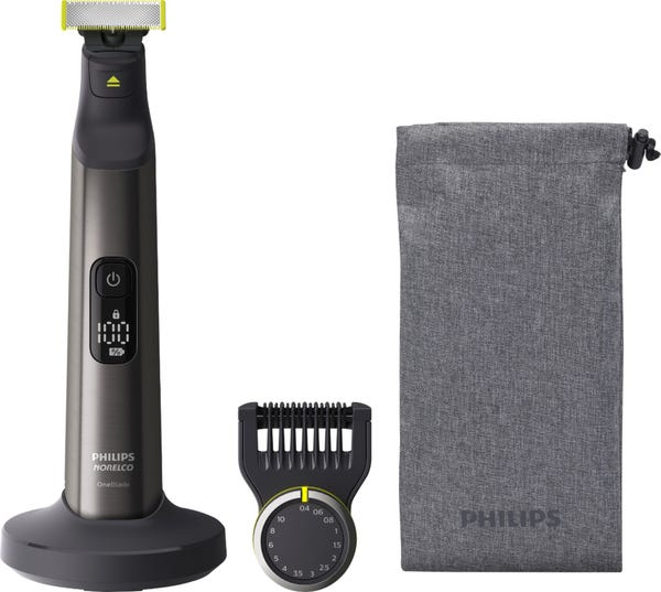 Philips Norelco - OneBlade Pro Hybrid Rechargeable Hair Trimmer and Shaver - Chrome