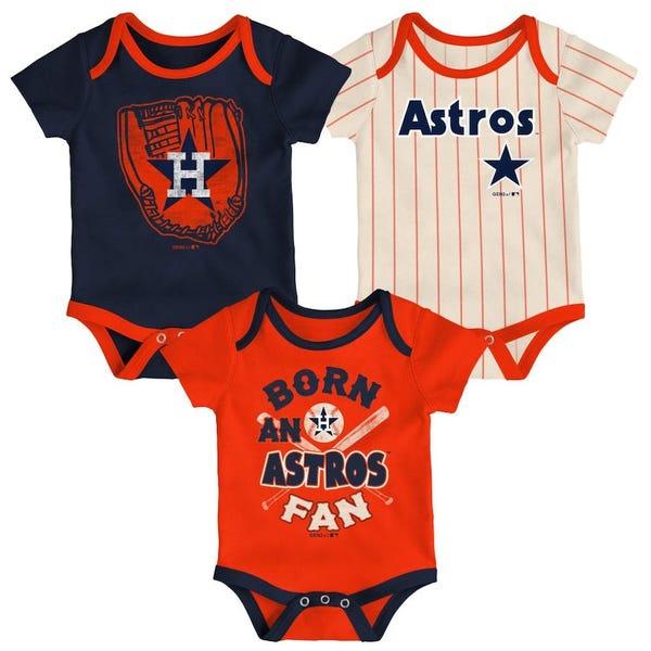 Houston Astros Newborn Three-Pack Number One Bodysuit - Navy/Orange/Cream
