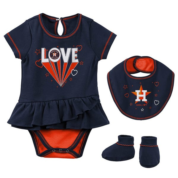 Houston Astros Girls Newborn & Infant Play Your Best Bodysuit, Bib & Booties Set - Navy
