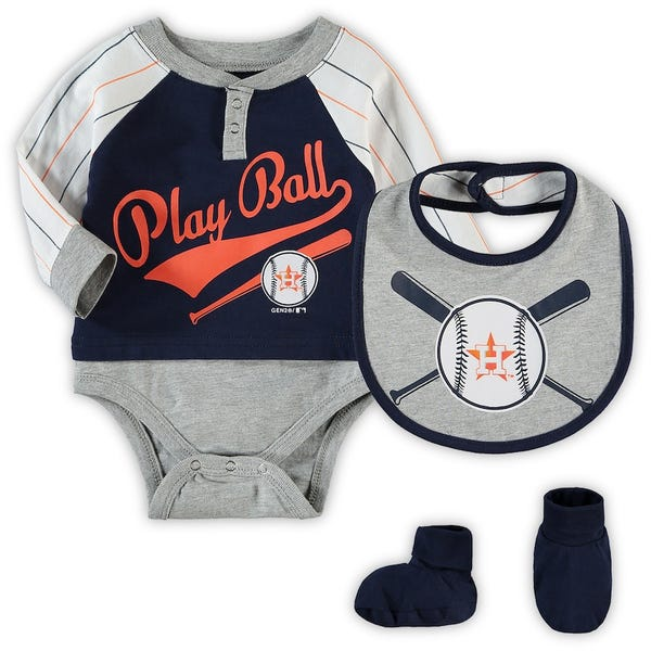 Newborn & Infant Houston Astros Navy Is It Game Time Yet Bodysuit, Bib & Booties Set