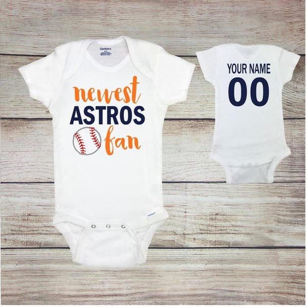 Astros Fan Baseball Baby Onesies