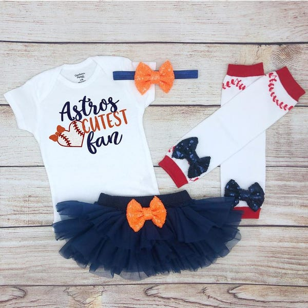 Astros Cutest Fan Baby Girl Baseball Outfit