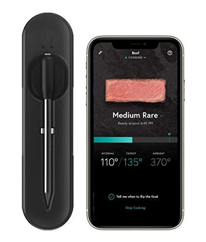 Wireless Smart Meat Thermometer with Long Range Bluetooth Connectivity and Assisted Cooking