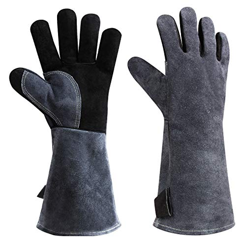 932°F Heat Resistant Leather Welding Gloves Grill BBQ Glove
