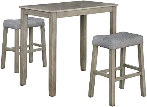3 Piece Dining Table Set, Counter Height Table with Two Saddle Stools