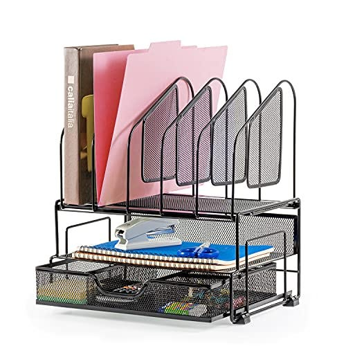Accessories Desk Organizer with Storage Drawer, 2 Paper Trays and File Folder Holders