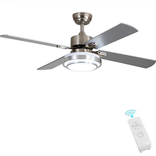 """Indoor 52"""" Brushed Nickel 4-Blade Ceiling Fan with Remote 52"""