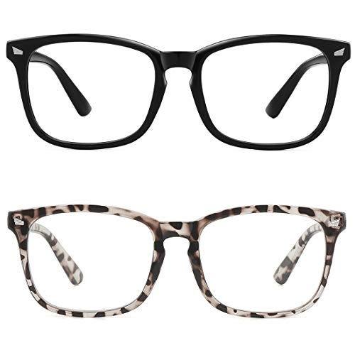 2 Pack Blue Light Blocking Glasses, UV400 Transparent Lens in Black and Leopard