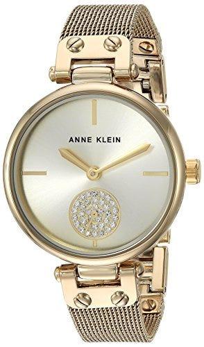 Women's Premium Crystal Accented Gold-Tone Mesh Bracelet Watch