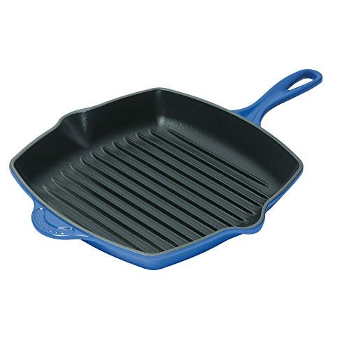 Le Creuset Enameled Cast-Iron 10-1/4-Inch Square Skillet Grill, Marseille