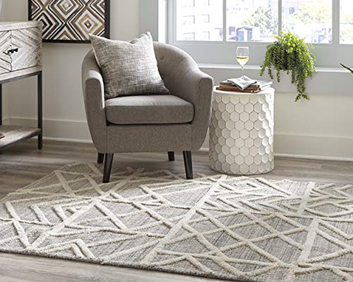 Signature Design by Ashley Karah 5 x 7 ft Modern Wool Area Rug, Mixed Pile, Gray/Ivory