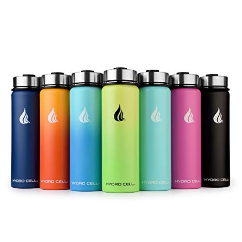 HYDRO CELL Stainless Steel Water Bottle with Straw & Wide Mouth Lids (24oz)