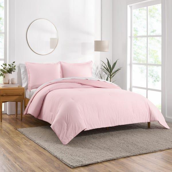 Chambray Stripe Reversible Organic Cotton Comforter Set