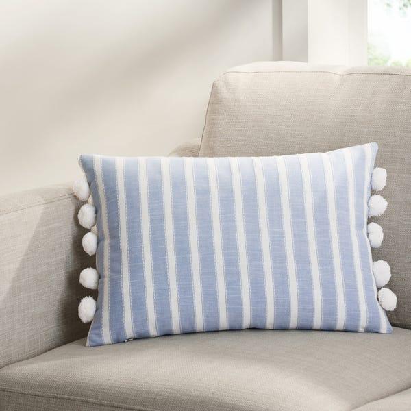 Chambray Stripe Oblong Throw Pillow