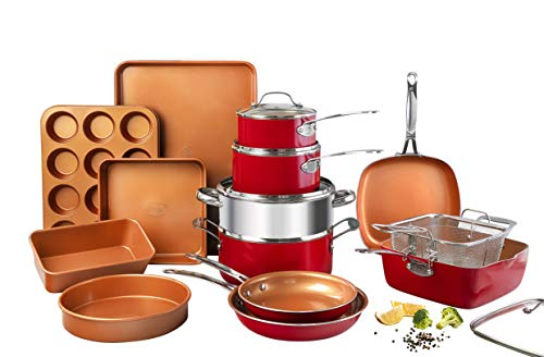 Gotham Steel Cookware + Bakeware Set with Nonstick Durable Ceramic Copper Coating