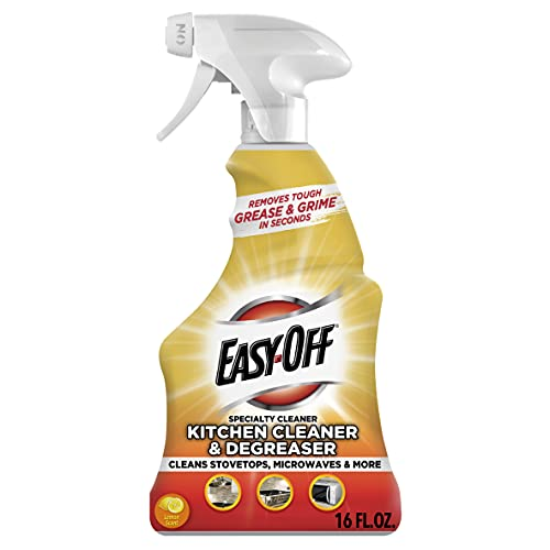 Easy Off Specialty Kitchen Degreaser Cleaner, Clear, Lemon, 16 Fl Oz