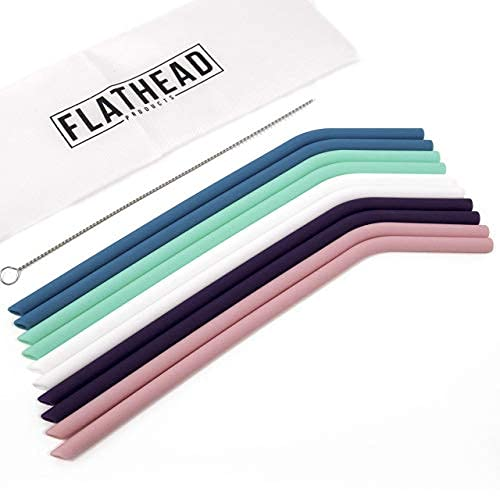 Flathead Bent Reusable Silicone Drinking Straws w/Cleaning Brush