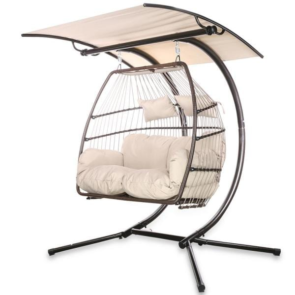 2-Person Swing Hanging Egg Rattan with Adjustable Canopy