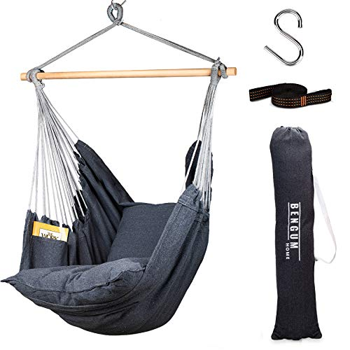 Hammock Chair Hanging Swing with 2 Cushions, Side Pocket, Rope, and Carrying Bag