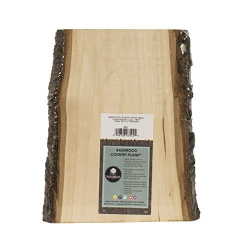 Walnut Hollow Basswood Country Plank Small with Bark for Woodburning, Home Décor, and Rustic Weddings