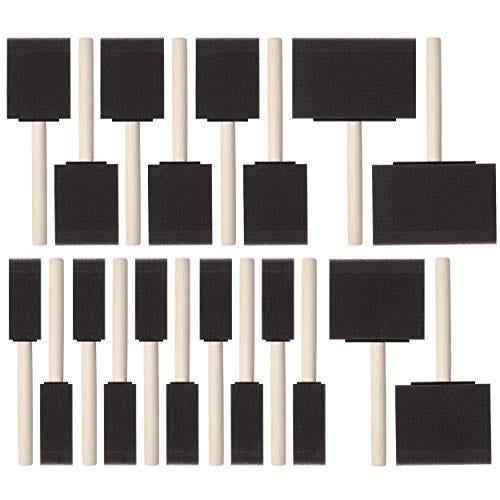 Bates- Foam Paint Brushes, Assorted Sizes, 20 Pcs