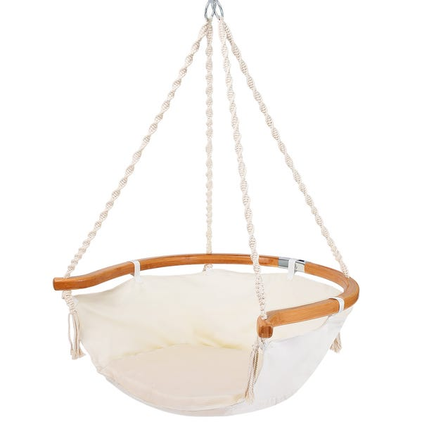 Beige Hammock Chair with Foldable Bamboo Back Support